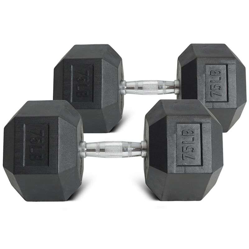75 lb Dumbbell Set - Black Rubber Coated Hex 75 Pound Weights For Sale + Free Shipping | Titan® Fitness