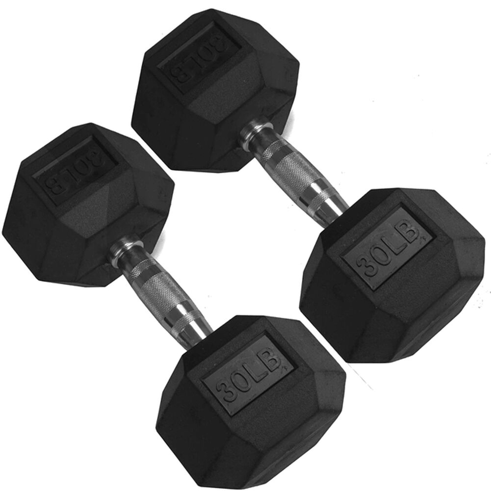 30 LBS TOTAL 30 LB Dumbbell Rubber Coated Hex NEW SINGLES 30LB FREE SHIPPING