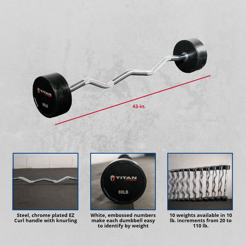 Rubber Fixed Barbell – EZ Curl – 80 LB