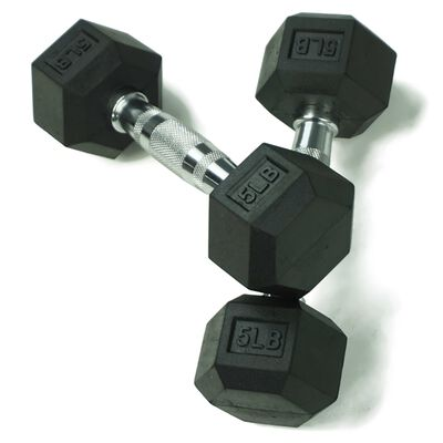 Pair of 5 lb Black Rubber Coated Hex Dumbbells
