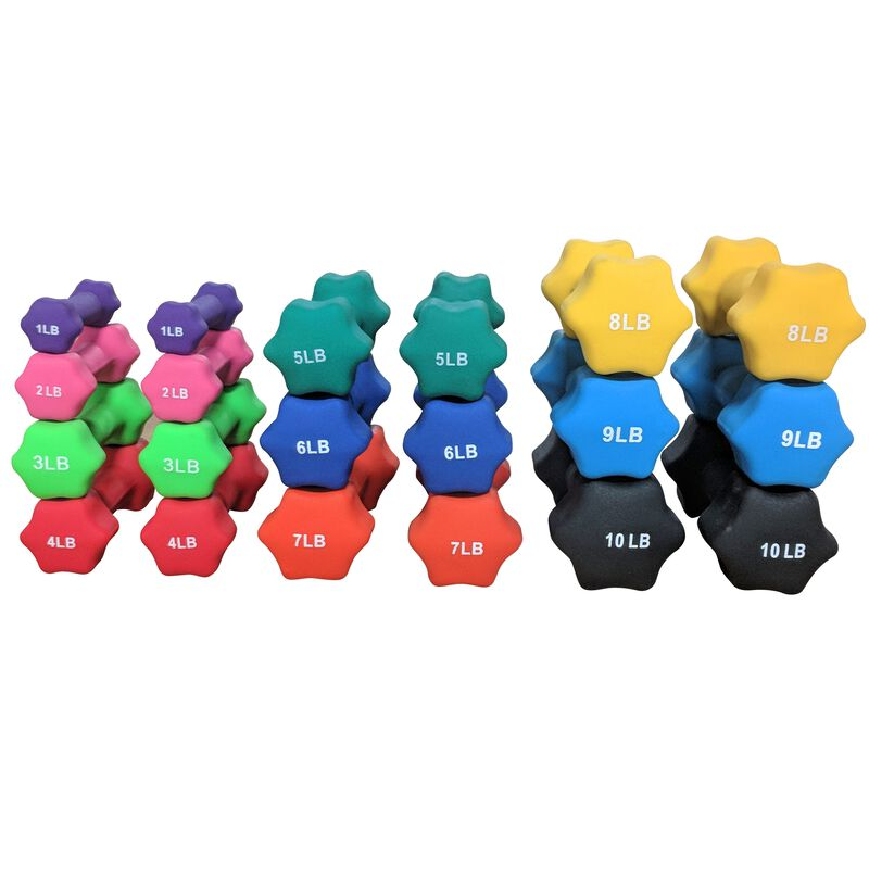 Full Set of Neoprene Lightweight Dumbbells (1-10 LB) and Dumbbell Stand