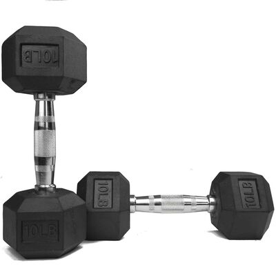Pair of 10 lb Black Rubber Coated Hex Dumbbells