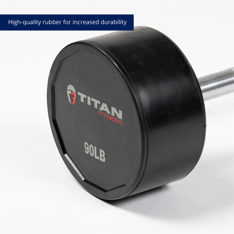 90 LB Straight Rubber Fixed Barbell