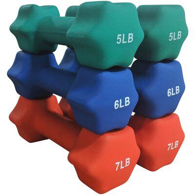 Neoprene Light Weight Dumbbell Set - 5, 6, 7 LB
