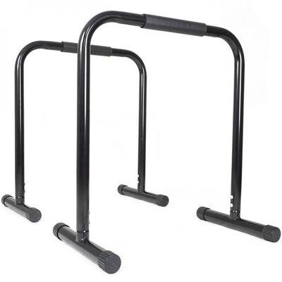 Black Dip Station Leg Raise Bars Body Weight Parallettes