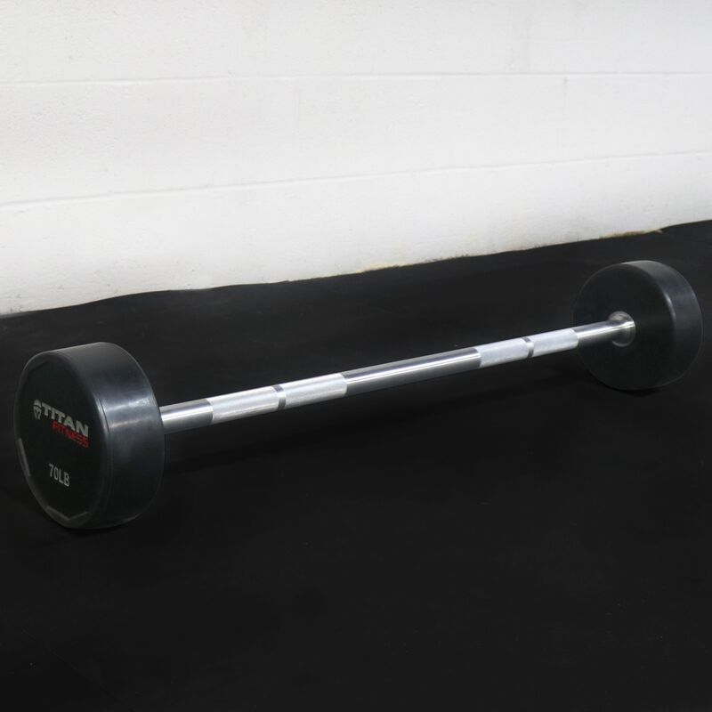 Rubber Fixed Barbell | Straight | 70 LB