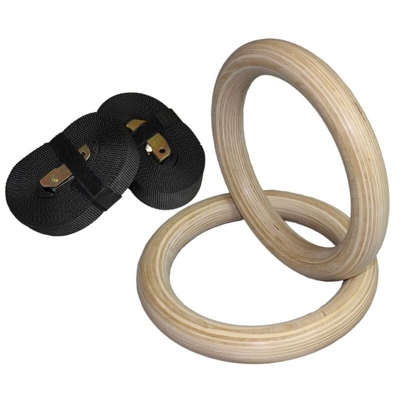"32mm Wood Olympic Gymnastic Rings - 1.5"" W Heavy Duty Thick Straps & Buckle"