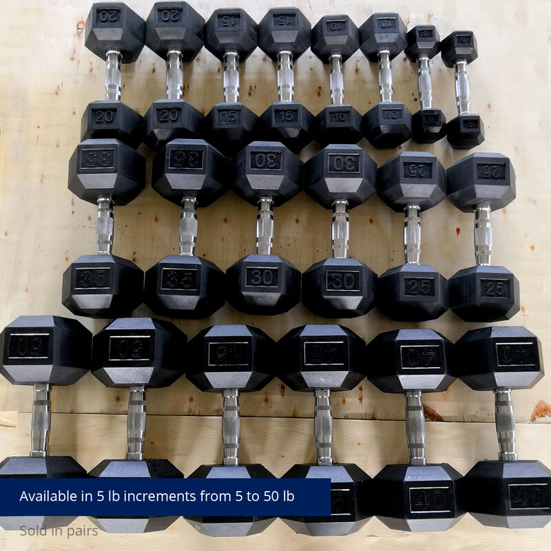 Rubber Hex Dumbbells With Chrome Handles