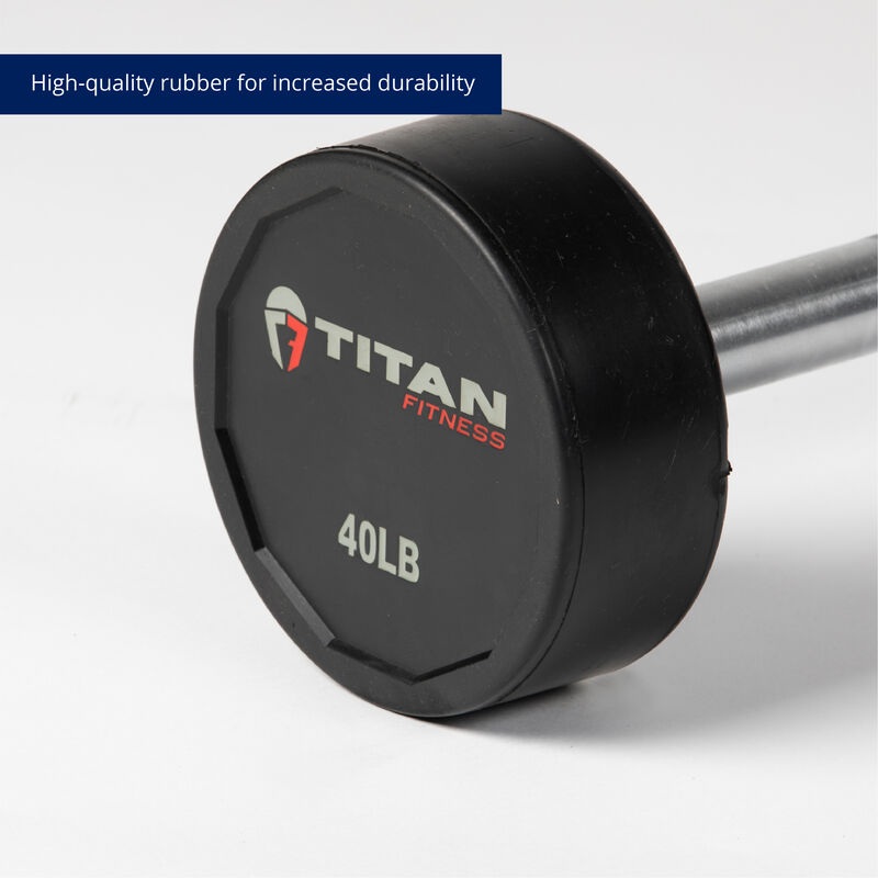 40 LB Straight Rubber Fixed Barbell