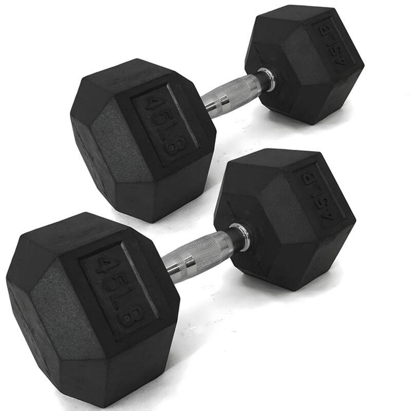 Pair of 45 lb Black Rubber Coated Hex Dumbbells