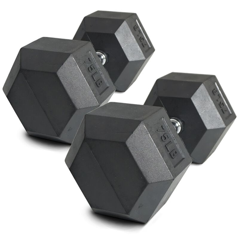 75 LB Rubber Hex Dumbbells