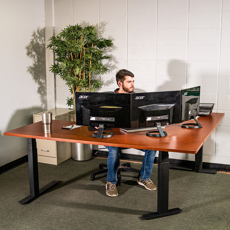 "74"" Electric Adjustable L-Shaped Desk with Wood Desktop"
