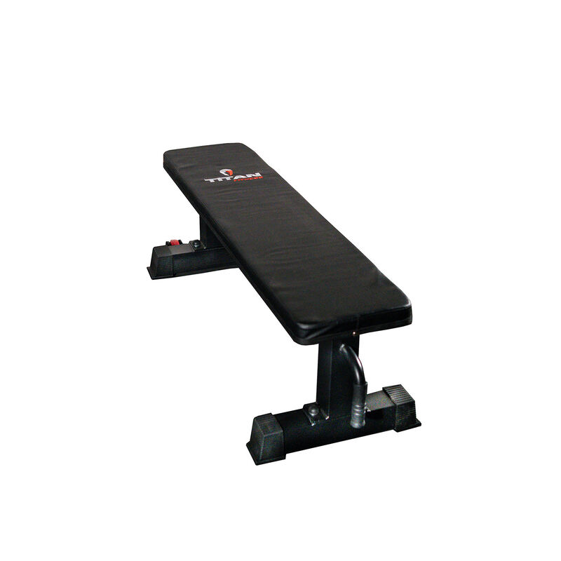 Titan Fitness Flat Weight Bench 1,000 lbs. Capacity w/ Handle & Wheels