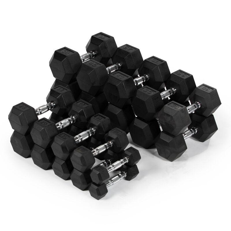 5 - 50 LB Pair Set Rubber Hex Dumbbells