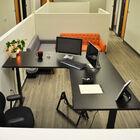 """74"""" Electric Adjustable L-Shaped Desk with Black Desktop"""