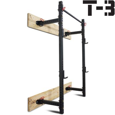 "21.5"" Fold Back Wall Mounted T-3 Power Rack w/ Rack Stringers"