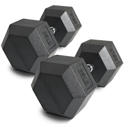 Pair of 85 lb Black Rubber Coated Hex Dumbbells