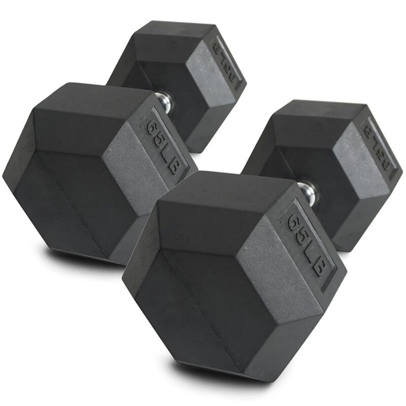 Pair of 65 lb Black Rubber Coated Hex Dumbbells