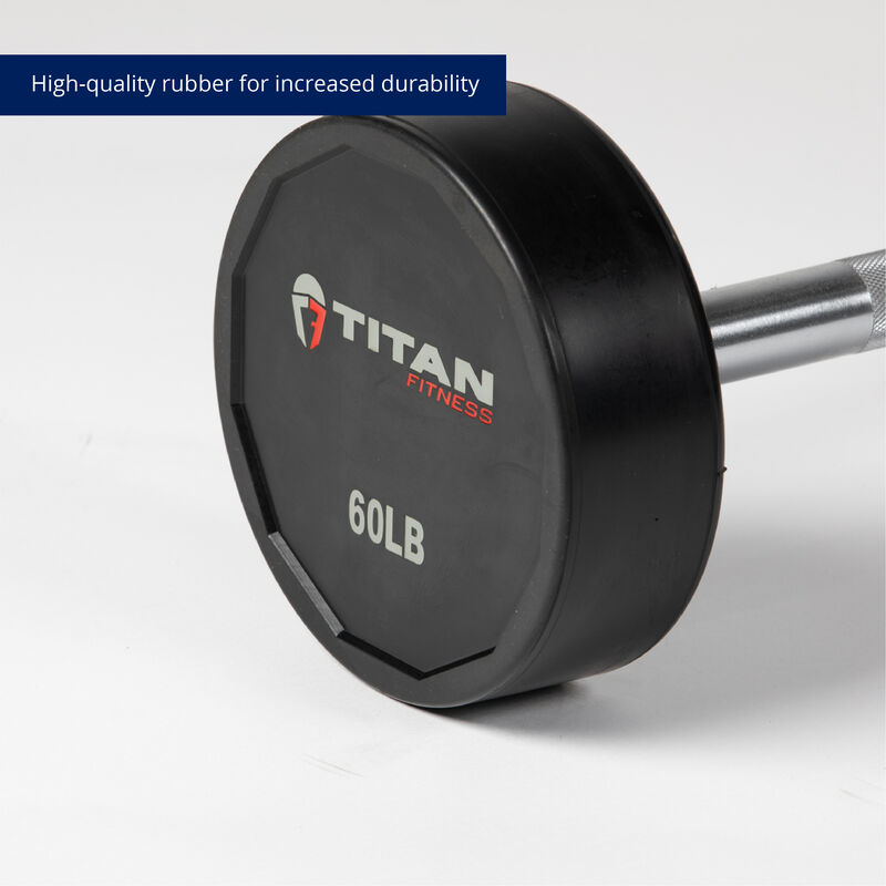 60 LB Straight Rubber Fixed Barbell