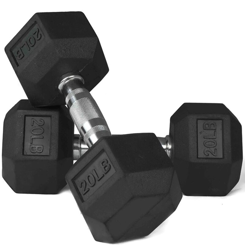 20 LB Rubber Hex Dumbbells - Olympic 20 LB Dumbbells Pair + Free Shipping | Titan® Fitness
