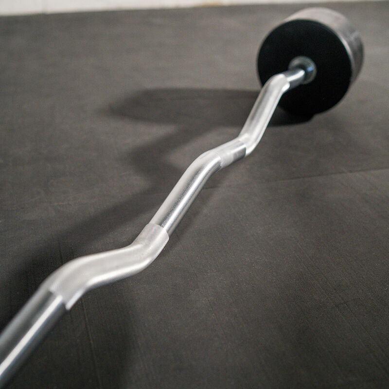 90 LB EZ Curl Rubber Fixed Barbell