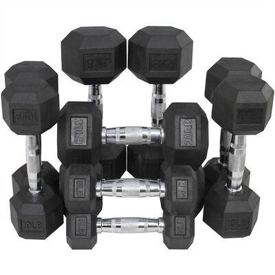 Black Rubber Coated Hex Dumbbells - 5 - 25 lbs Set