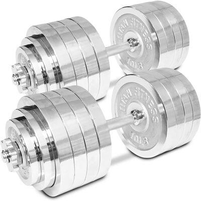 Pair of Adjustable Chrome Dumbbells 5-100 lb each