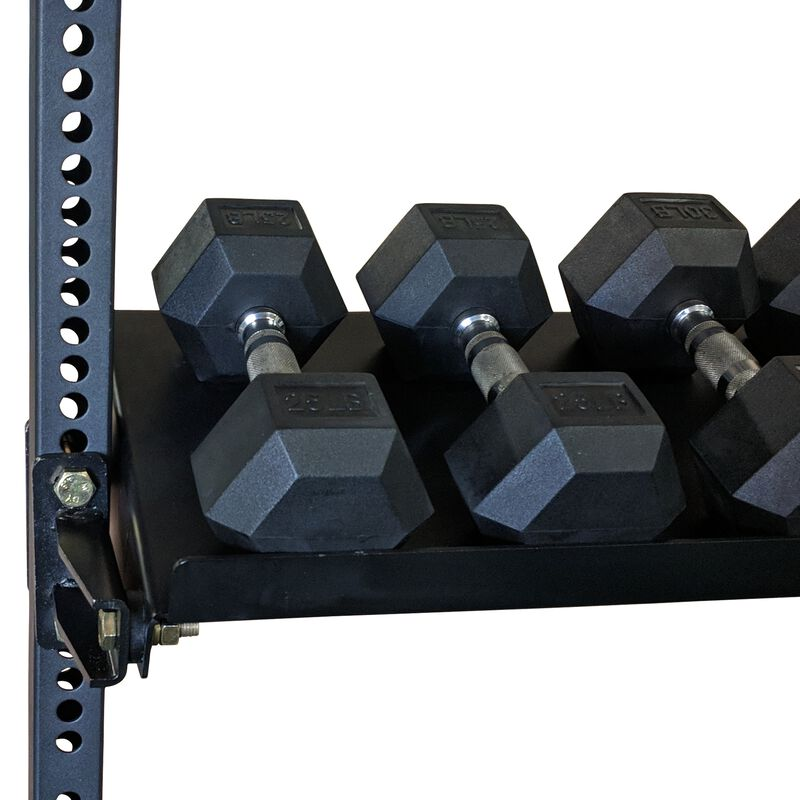 "70"" Wall Mount Rig Kettle Bell and Dumbbell Rotating Storage Shelf"