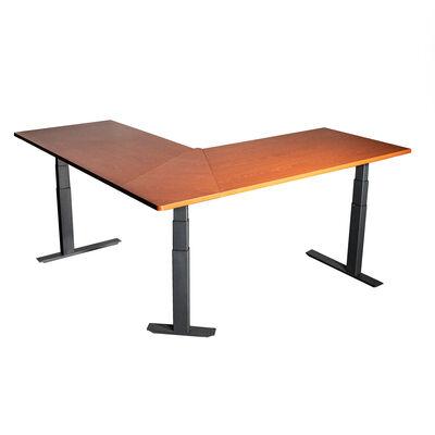 """74"""" Electric Adjustable L-Shaped Desk with Wood Desktop"""