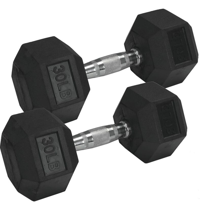 Pair of 30 lb Black Rubber Coated Hex Dumbbells